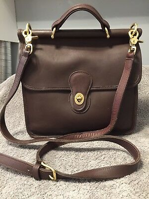 COACH Willis Vintage Brown Leather Shoulder Bag Crossbody Purse # 9927 Womens