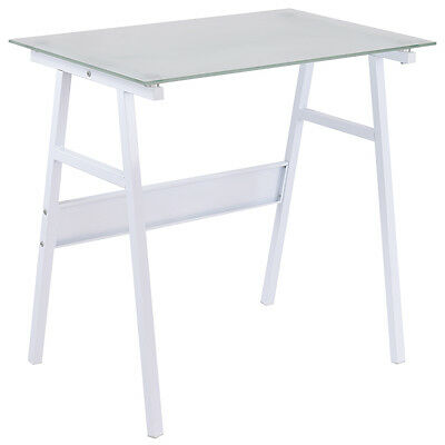 White Computer Desk Writing Table Glass Top Metal Leg Study Decor Home Office