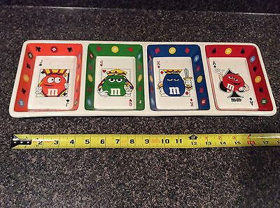 M&m's Playing Card Ceramic Platter Candy Dish Plate Poker Hearts Rare