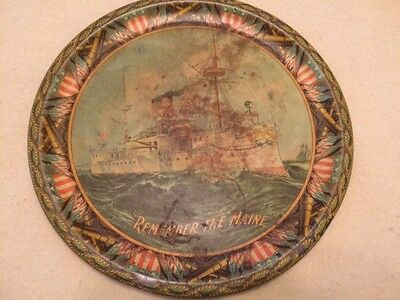 """Vintage Antique """"Remember The Maine"""" Tin Litho 12"""" Tray"""