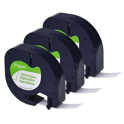 3PK Black on White Paper Label Tape for DYMO Letratag LT 91330 QX50 LT100H 1/2''