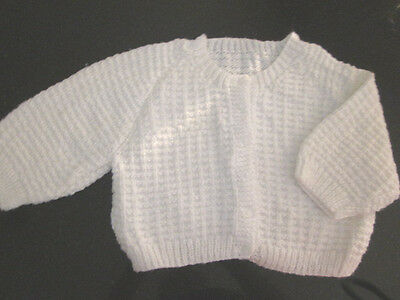 Girl's Hand Knitted Baby Cardi  Size 00  New Without Tags
