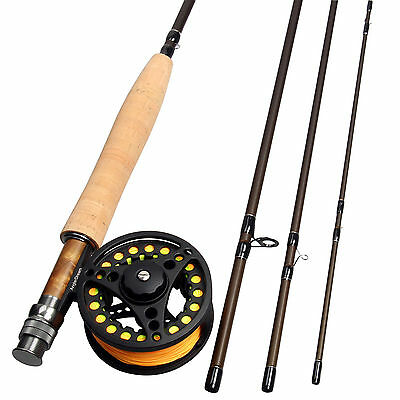 3/5/8WT Fly Fishing Combo Carbon Fiber Fly Rod Large Arbor Fly Reel Combo Line