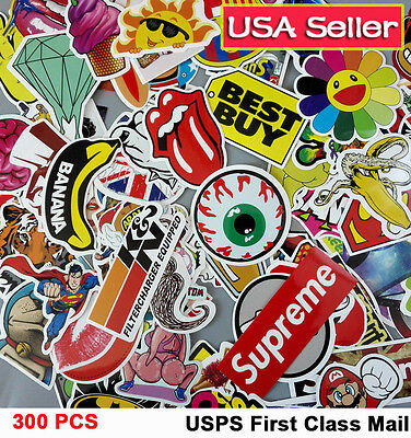 300 Lot Random Vinyl Laptop Skateboard Stickers bomb Luggage Decals Dope Sticker