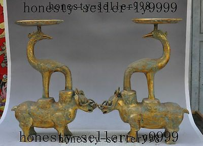 "16"" old china palace bronze gilt bird oxen Ox bull beast Candlestick Holder pair"