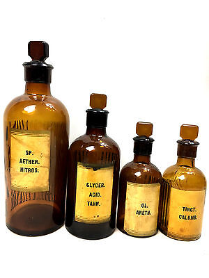 4 x Original Antique Alchemy Bottles Apothecary Amber Glass Pharmacy