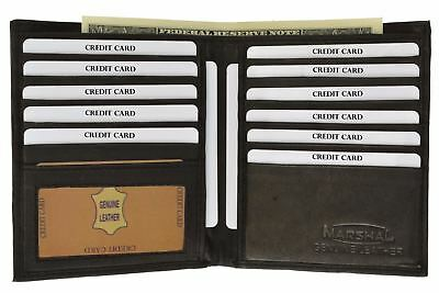 Genuine Leather Bifold Wallet Slim Hipster Cowhide Credit Card and ID New!