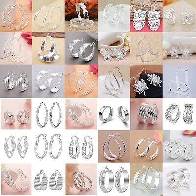 Fashion Women 925 Silver Ear Stud Hoop Dangle Earrings Wedding Bridal Jewelry