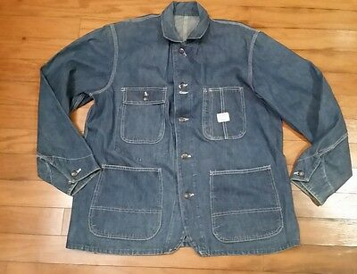 VINTAGE ORIGINAL DENIM JACKET BIG MAC 1960's INDIGO CHORE WORKWEAR SIZE XL
