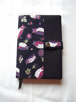 Reusable A5 Diary / Book Cover WITH NOTEBOOK in Black Owls Cotton - Handmade