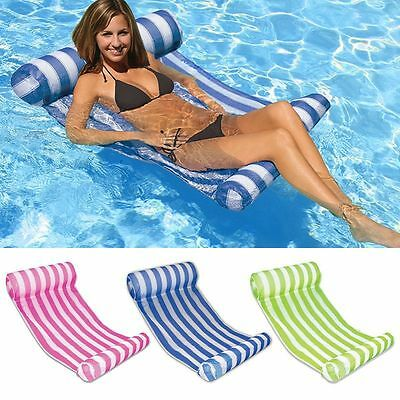 Water Hammock Pool Lounge Bed Chair Inflatable Floating Float Summer Swimming &