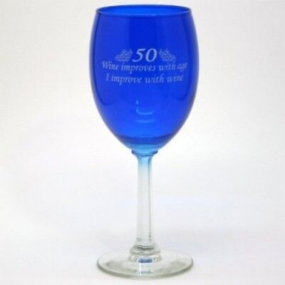 50 - Age Improves Wine Glass - Funny 50th Birthday Gift - Made in USA