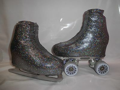 Black Shattered Glass  Boot Covers for RollerSkates and Ice Skates  S,M,L