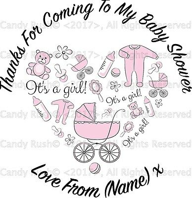 24 Personalised Baby Shower Party Bags Stickers Label Boy Girl Thank You Favours