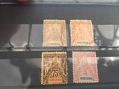 Indo China hinged mint SG14,15,17 & 19 Cat £ 256 very fine stamps on card