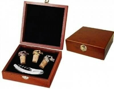Wine Service Corkscrew & Stoppers Wood Box Gift Set, 5 Piece. Picnic Time