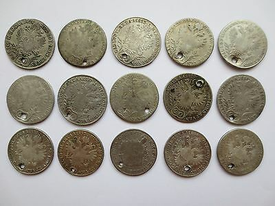 LOT 15 SILVER COINS KREUZER Austria Hungary Medieval Europe 1821 1822 1823 1824-