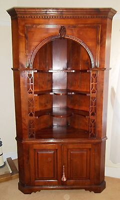 Distinctive Quality Large Corner Display Dresser Cupboard in Solid Fruitwood