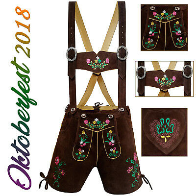 Authentic Ladies Women Short Lederhosen German Bavarian Trachten Oktoberfest LB5