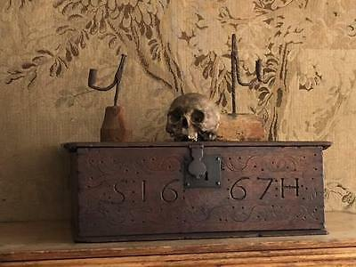 An Original 17th Century Carved Oak Bible Box Dated 1667 With The Initials S.H