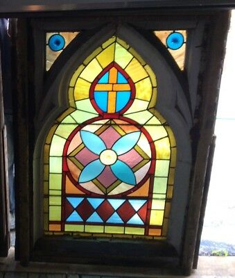 Lg LEADED STAINED GLASS WINDOW GOTHIC - 1850's Church