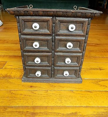 Antique Oak Wooden Apothecary Drugstore Cabinet Cupboard with ROUNDED DRAWERS