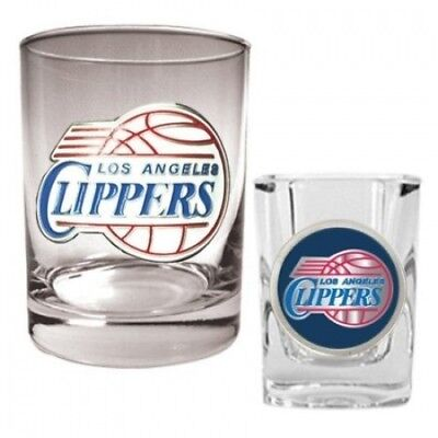 Los Angeles Clippers Rocks Glass & Square Shot Glass Set. Shipping is Free