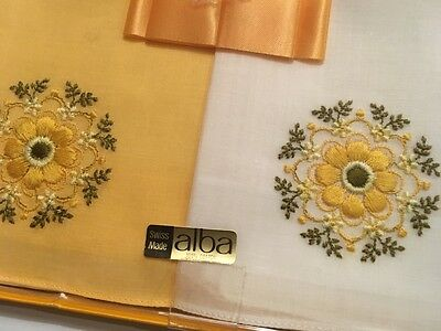 Boxed Vintage Swiss Cotton Lawn Embroidered Hankies Handkerchiefs x 2