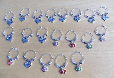 Job Lot of 20 Handmade Assorted Wine Glass Charms Car Boot Sale Christmas Fairs