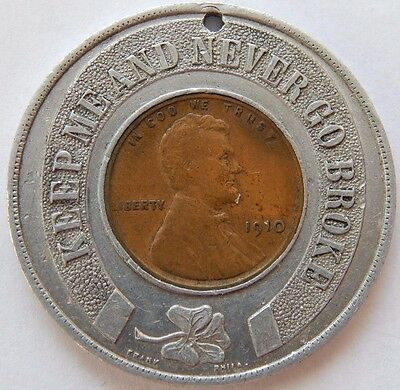 1910 Encased Wheat Cent Member Of The Lucky Coin Club By August Frank Philada !1