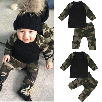 Kinder Baby Jungen  Cotton Tops T-shirt + Camouflage Hosen Outfits Set  0-24M