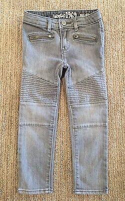 Baby Gap Kids Girls Jeans 4 Gray Moto Pants Zippers Mini Skinny Leg Quilted