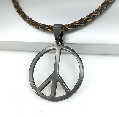 Black Retro Peace Sign Symbol Pendant Brown Braided Leather Surfer Necklace