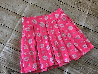 Justice Girl's Skort Skirt With Shorts Pink Front Elastic Waist Size 12 EUC