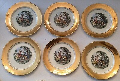 Lido W.S.George Canarytone Made in USA Set Of 6 Plates 22 K Gold 7 1/2""