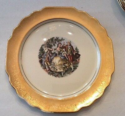 Lido W.S.George Canarytone Made USA Dinner Plate 22 K Gold 10 1/4""