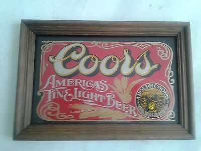 COORS SIGN GLASS W / WOOD 9 X 6.5 in