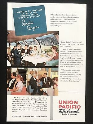 1959 Vintage Print Ad UNION PACIFIC RAILROAD Train Travel Vacation Ronald Reagan