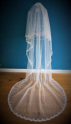 *Cathedral Length 2 Tier/ Drop Veil*off White/Ivory*Corded Lace C*Bespoke *