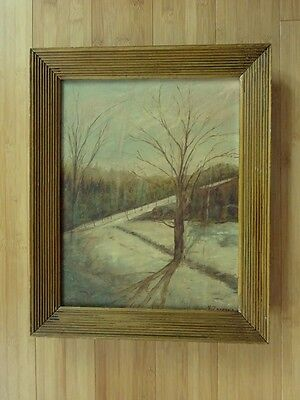 Antique Landscape Winter Signed Framed Original Canvas Oil Painting Art Vintage