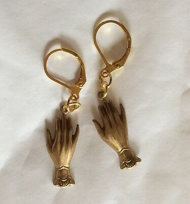 Pair Of Hands Finger Link Raw Brass Handmade Earrings For Pierced Ears