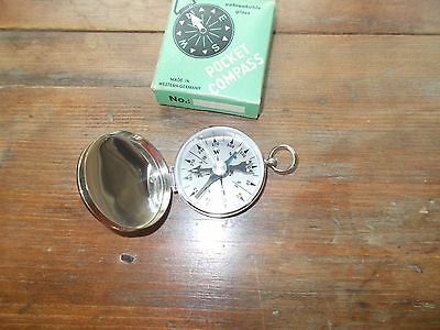Vintage W. Germany Manufactured Pocket Compass With Box