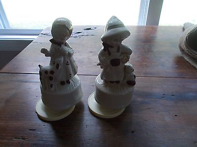Vintage Musical Boy and Girl Figurines