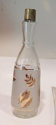 Mid Century  Retro Libbey Glass Frosted Gold Leaf Golden Foliage Bar Bottle