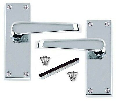 VICTORIAN SCROLL LEVER LATCH DOOR HANDLES POLISHED CHROME 1-15