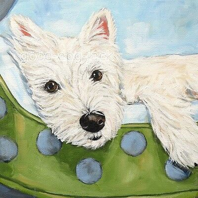 """West Highland Terrier WESTIE MATTED SQUARE PRINT  """"Hanging Out""""  RANDALL"""