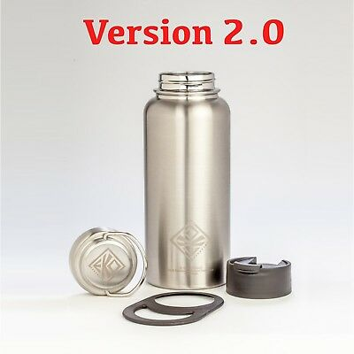 VERSION 2.0: 950ml Vacuum Insulated Stainless Steel Water Bottle -NO PLASTIC-