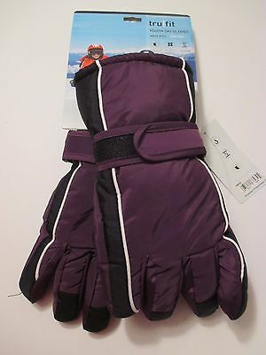 NWT TRUFIT Girls Boys Youth Purple Lined WATERPROOF Winter Ski GLOVES~Fits XL