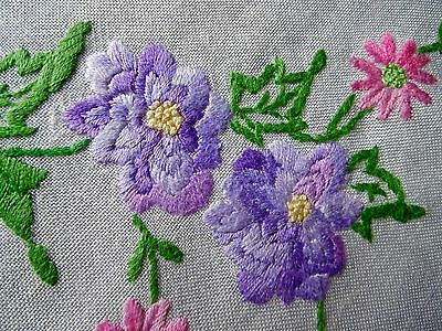 Vintage, Stunning Hand Embroidered Tablecloth, ANEMONES 32 x 34 incheS