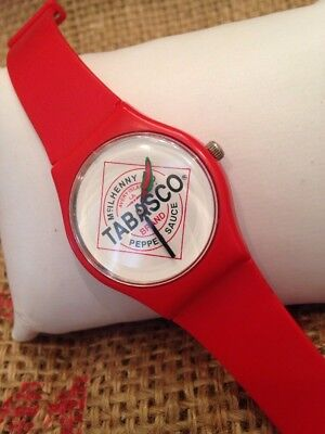 McILHENNY CO TABASCO HOT SAUCE ADVERTISING WRIST WATCH RED PLASTIC BAND PEPPER